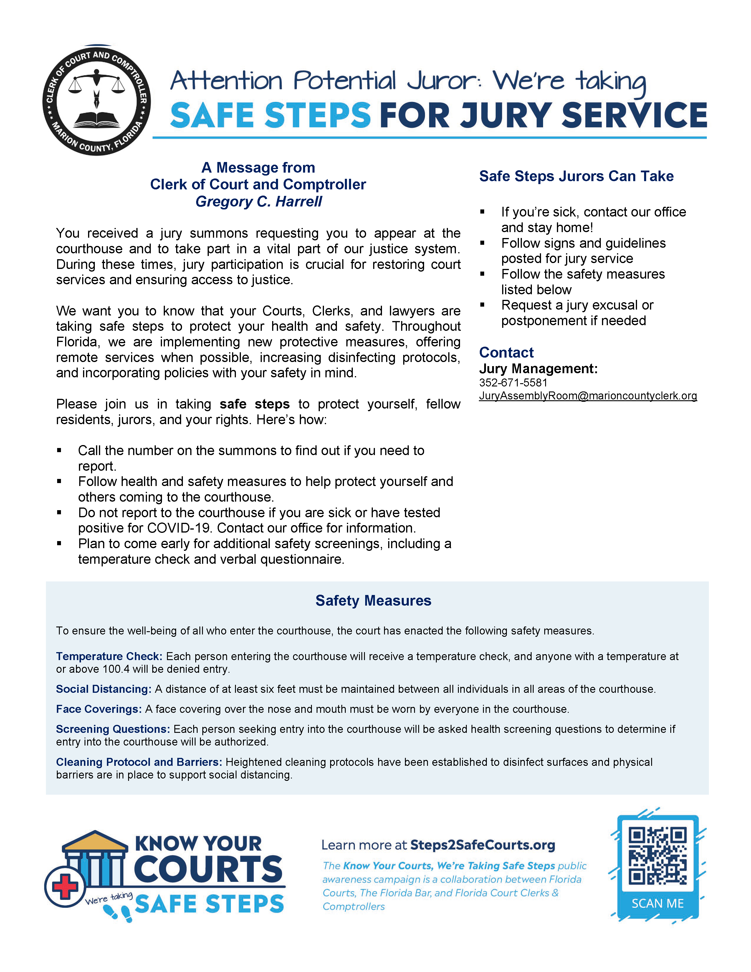 Safe Steps for Jury Duty